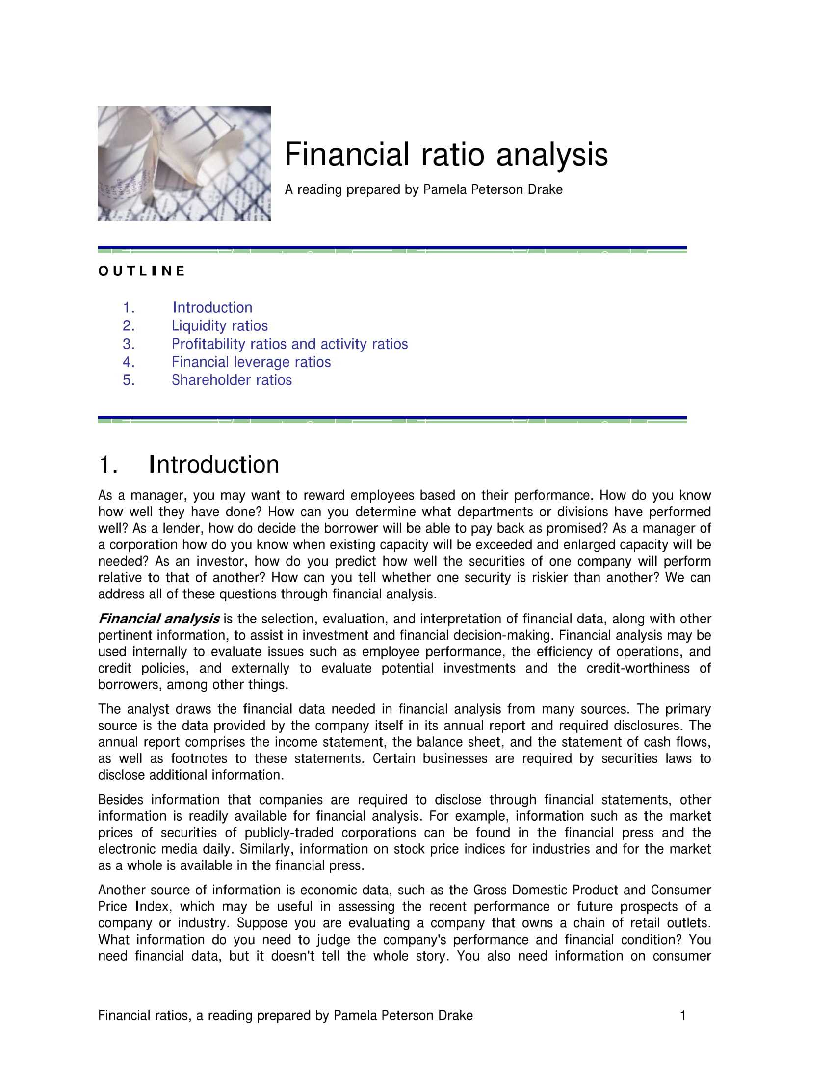 10+ Business Financial Analysis Examples - Pdf | Examples In Credit Analysis Report Template