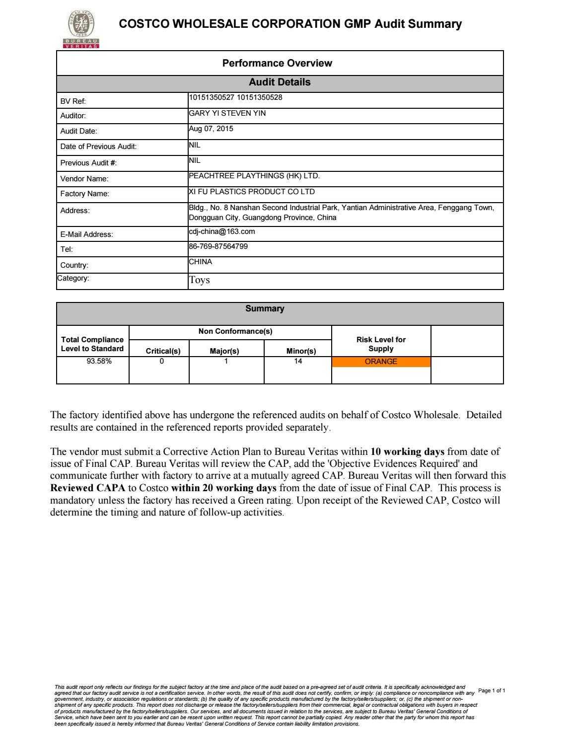 10151350527 & 10151350528 Costco Gmp Reports Xifu (Aug 07 Regarding Gmp Audit Report Template