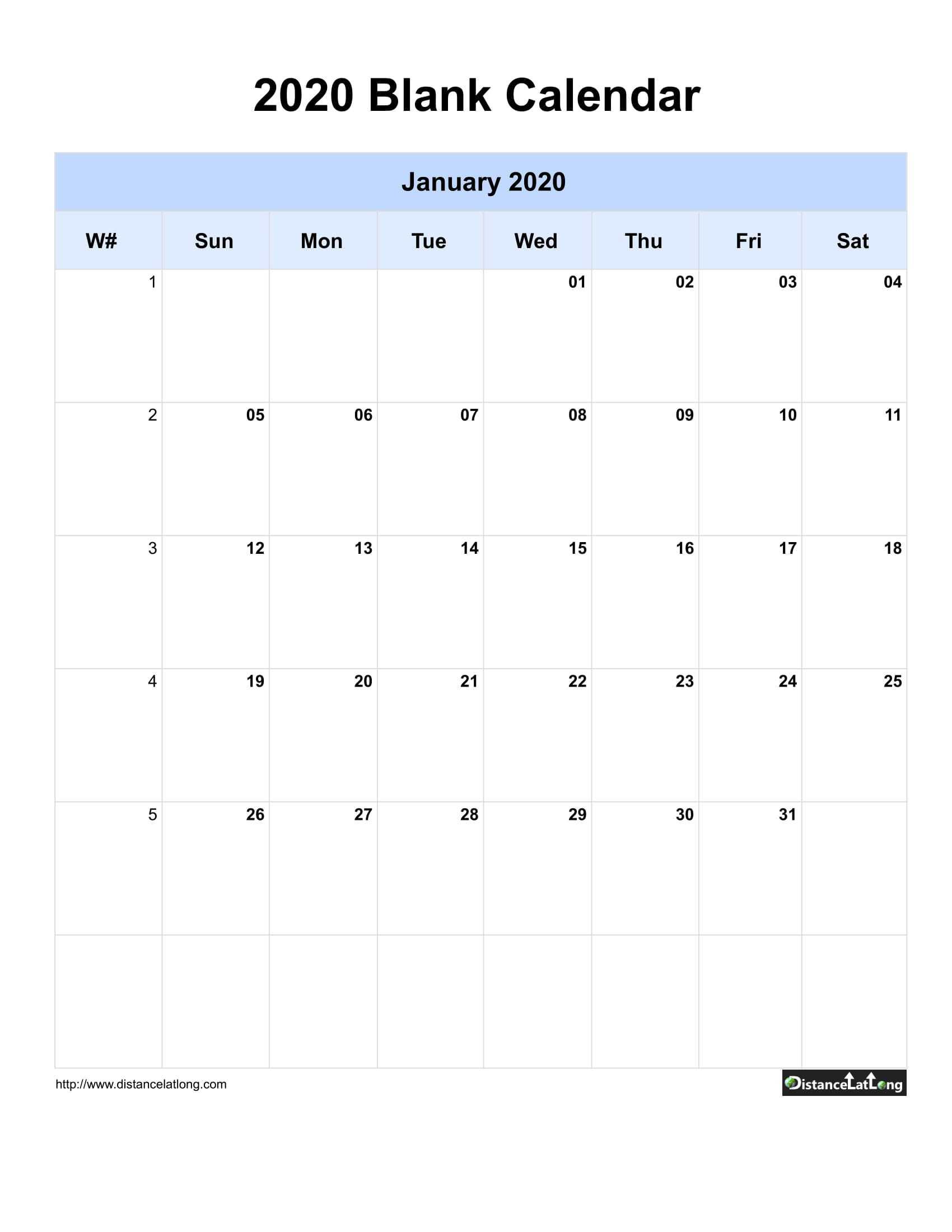 2020 Blank Calendar Blank Portrait Orientation Free For Blank One Month Calendar Template
