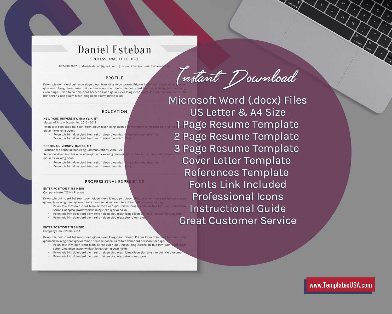 2020 Professional Ms Word Resume Template Curriculum Vitae, Simple Cv  Template, Minimalist Resume, Editable Resume, College Student Resume, 1 3  Page With College Student Resume Template Microsoft Word