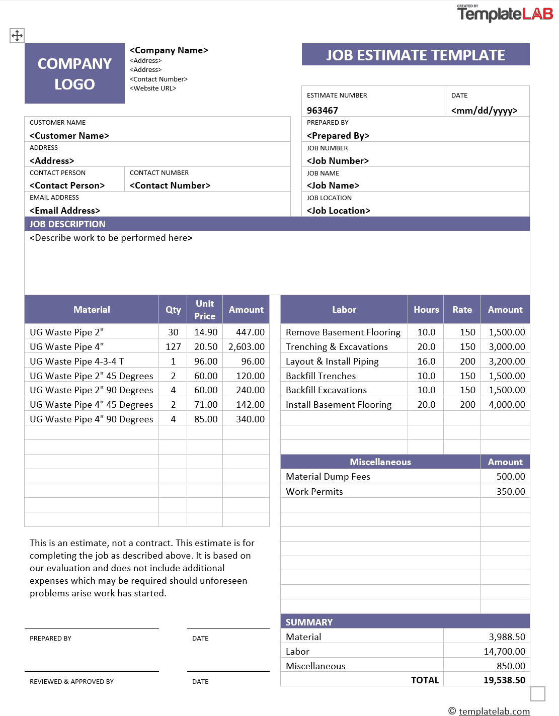 28 Free Estimate Template Forms [Construction, Repair Pertaining To Work Estimate Template Word