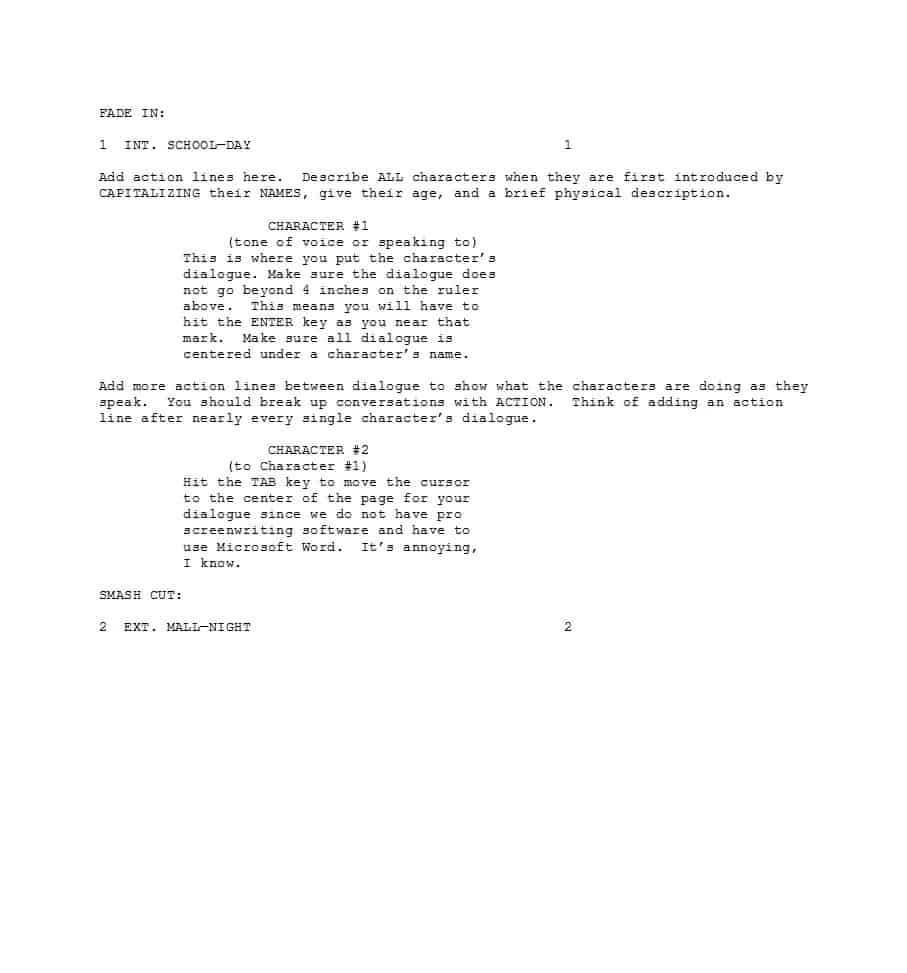 37 Creative Screenplay Templates [& Screenplay Format Guide With Regard To Microsoft Word Screenplay Template