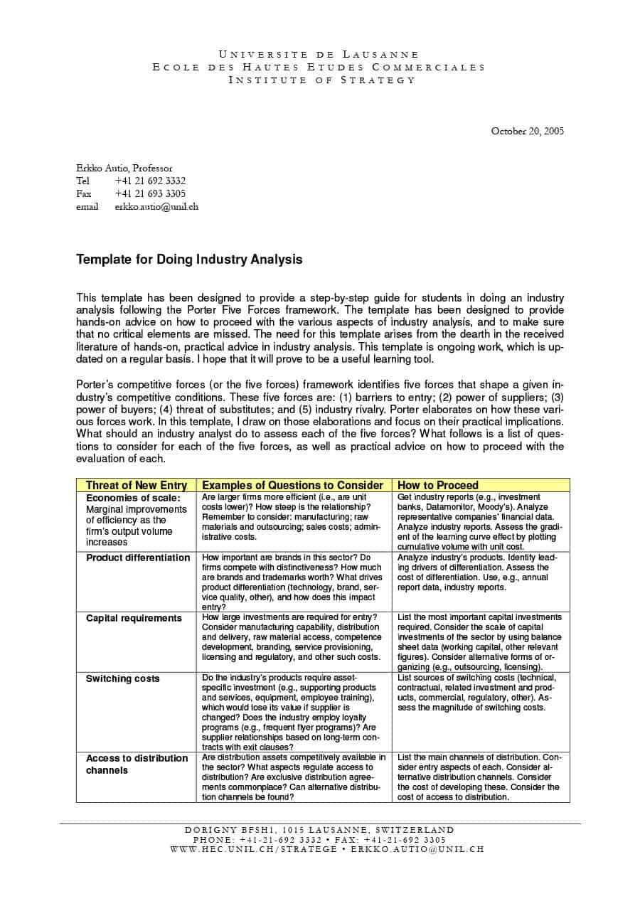 39 Free Industry Analysis Examples & Templates ᐅ Templatelab In Industry Analysis Report Template