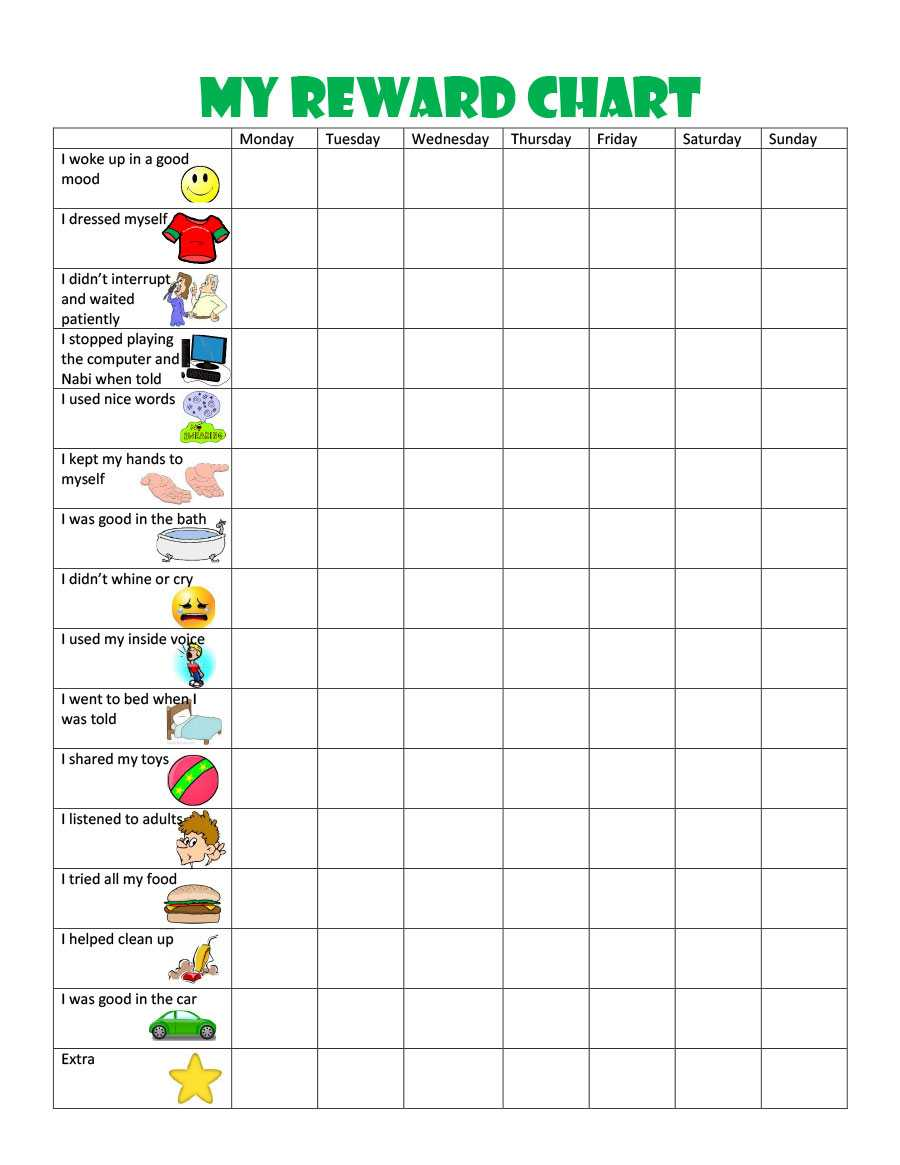 44 Printable Reward Charts For Kids (Pdf, Excel & Word) Within Reward Chart Template Word