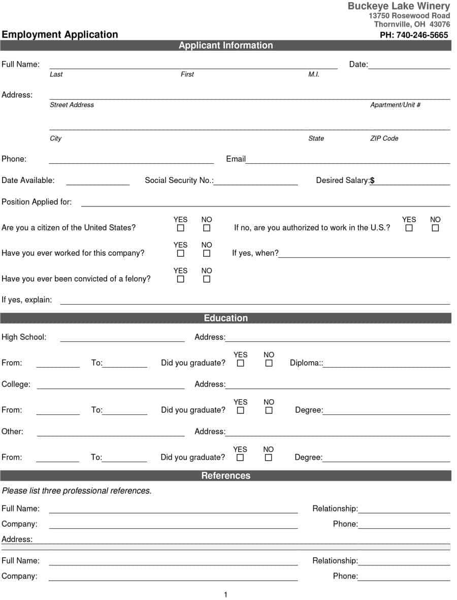 50 Free Employment / Job Application Form Templates With Regard To Employment Application Template Microsoft Word