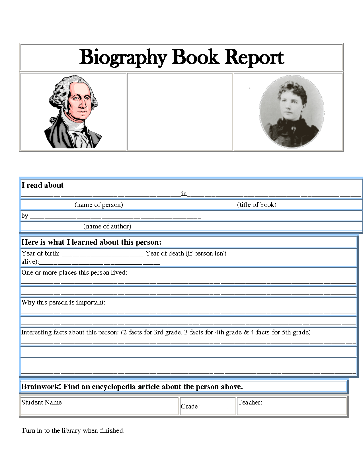 5Th Grade Dol Worksheet | Printable Worksheets And Regarding Biography Book Report Template