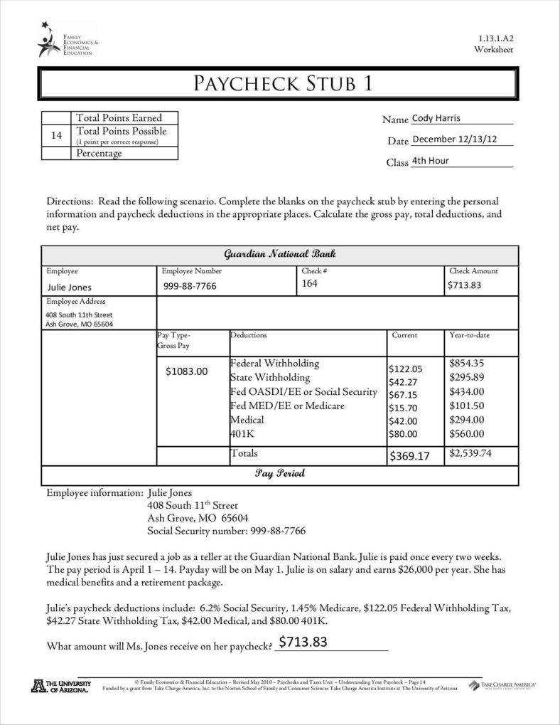 9+ Free Pay Stub Templates Word, Pdf, Excel Format Download With Regard To Pay Stub Template Word Document