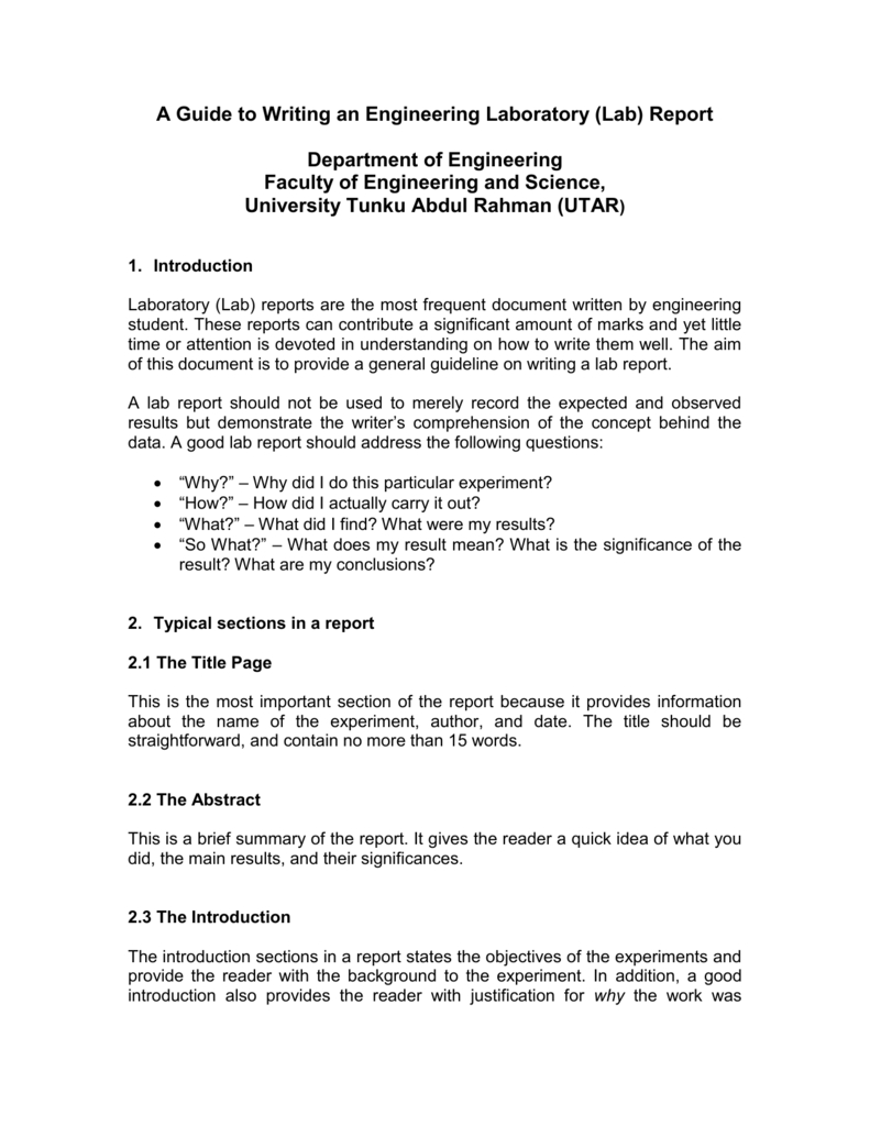 A Guide To Writing An Engineering Laboratory (Lab) Report Throughout Engineering Lab Report Template
