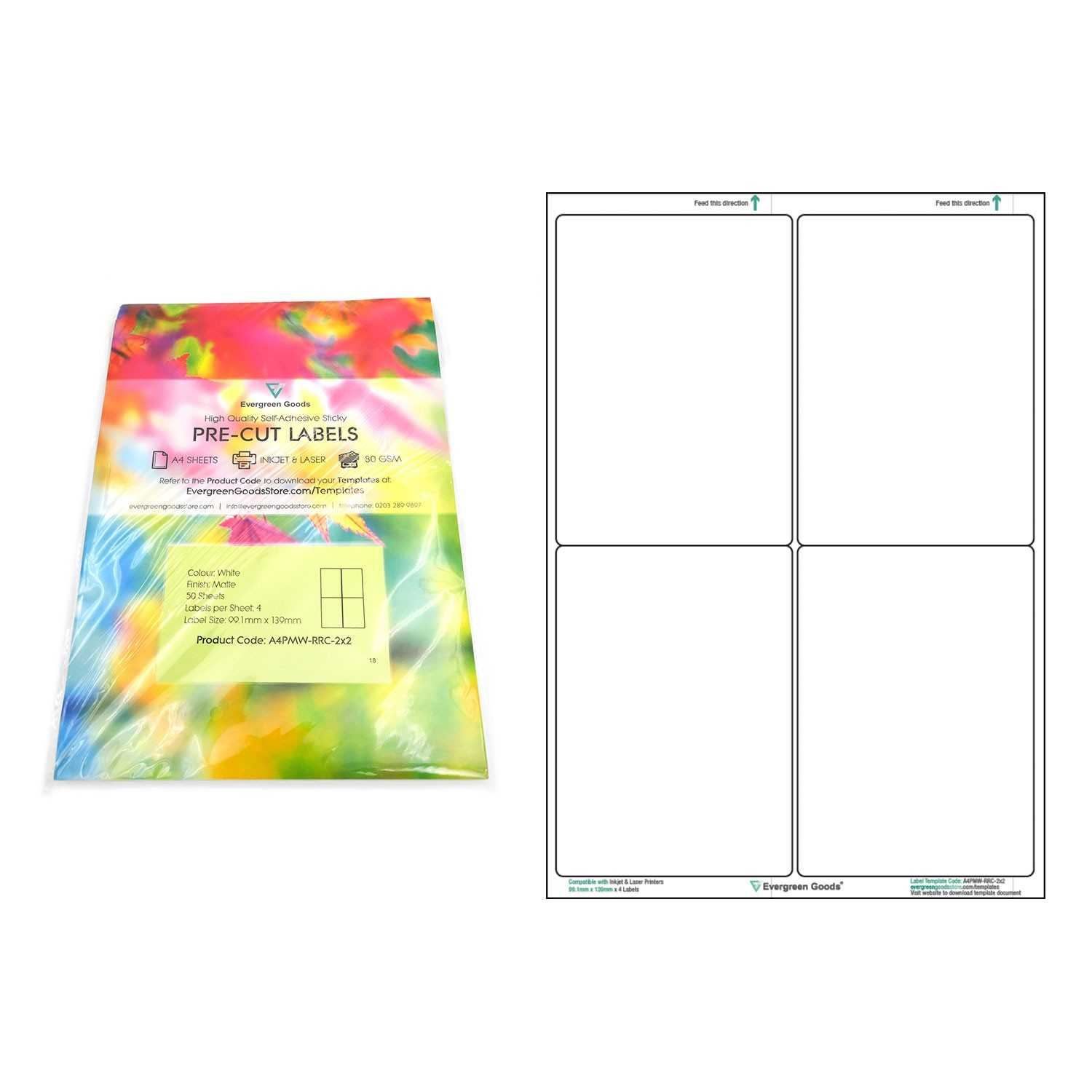 A4 Pre Cut Multi Matte White Paper Labels (2X2, 4 Labels Per Intended For Label Template 21 Per Sheet Word
