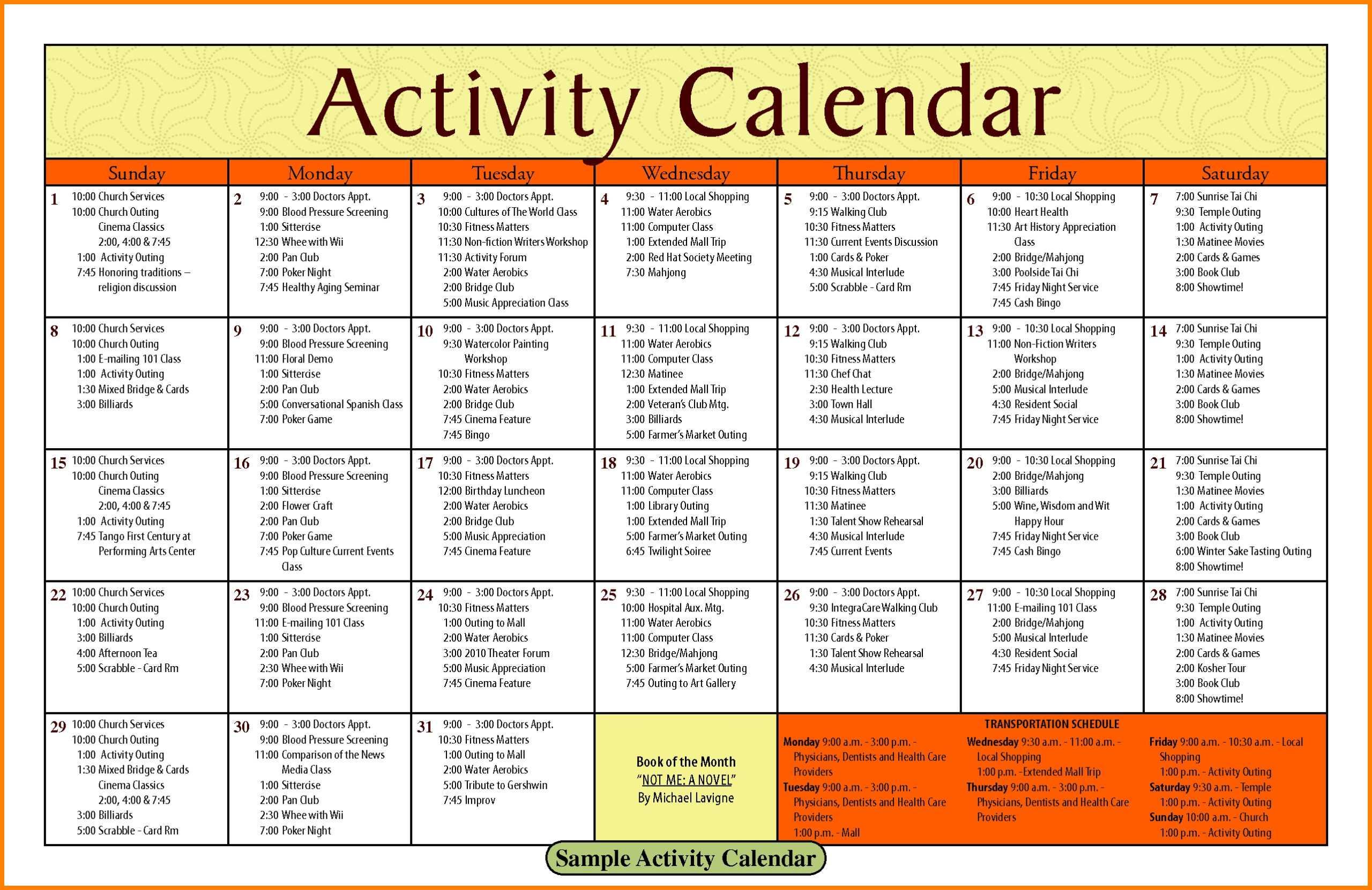 Activity Calendar Template – Printable Week Calendar With Blank Activity Calendar Template