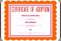 Adoption Certificate Template – Certificate Templates with regard to Blank Adoption Certificate Template