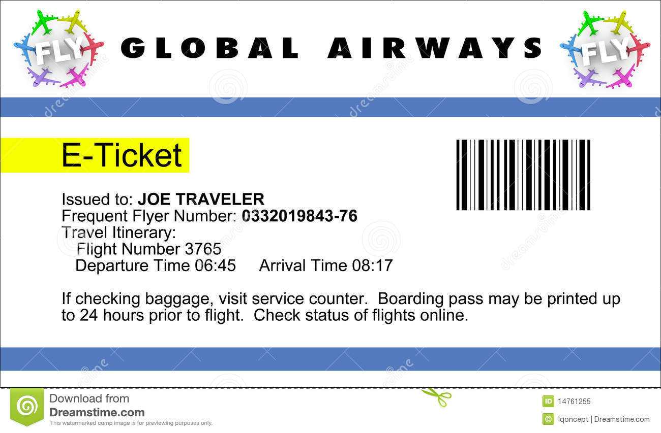 Airline E Ticket Stock Illustration. Illustration Of Travel Intended For Plane Ticket Template Word