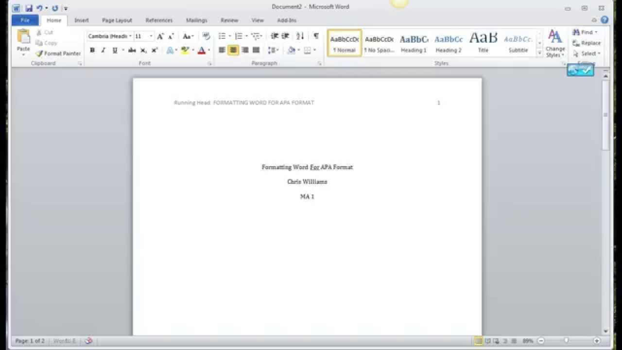 Apa Format On Word 2010 Regarding Apa Template For Word 2010