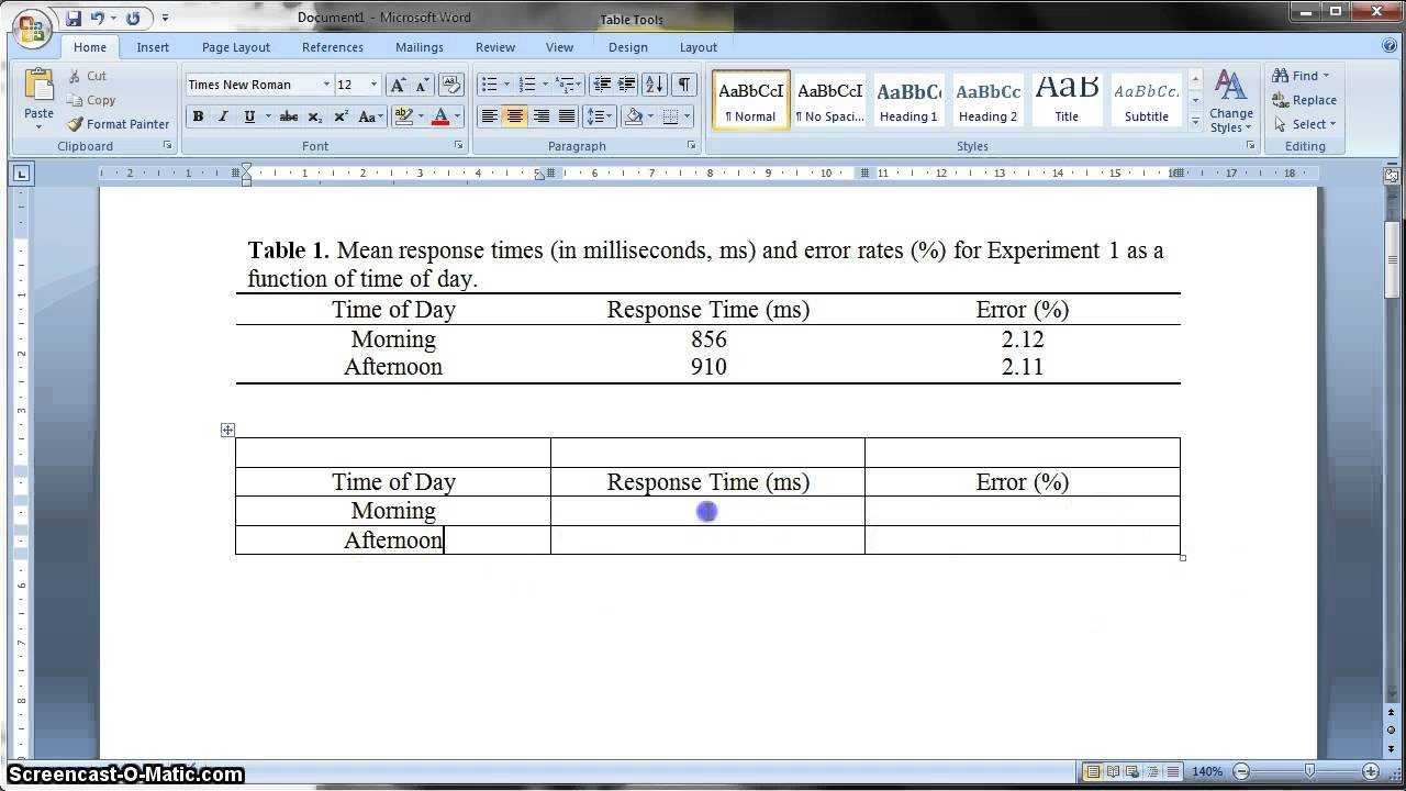 Apa Formatted Table In Ms Word 2010 Intended For Apa Table Template Word