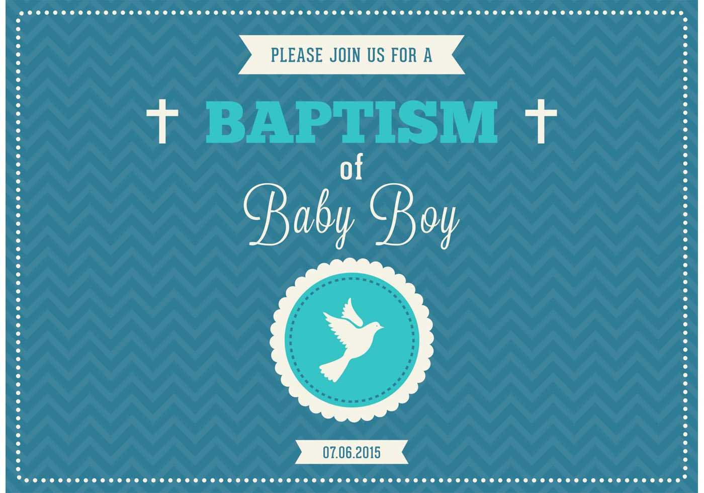 Baby Boy Baptism Vector Invitation – Download Free Vectors With Christening Banner Template Free