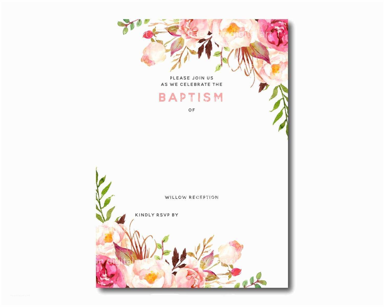 Baptism Invitation Template Free Printable Baptism Floral Inside Blank Christening Invitation Templates