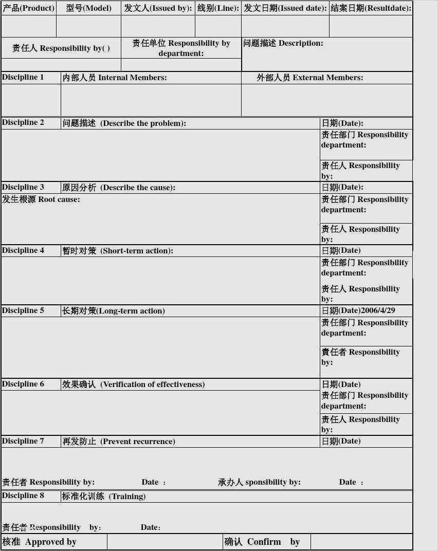 Bb6A5 8D Report Template | Wiring Library Regarding 8D Report Template