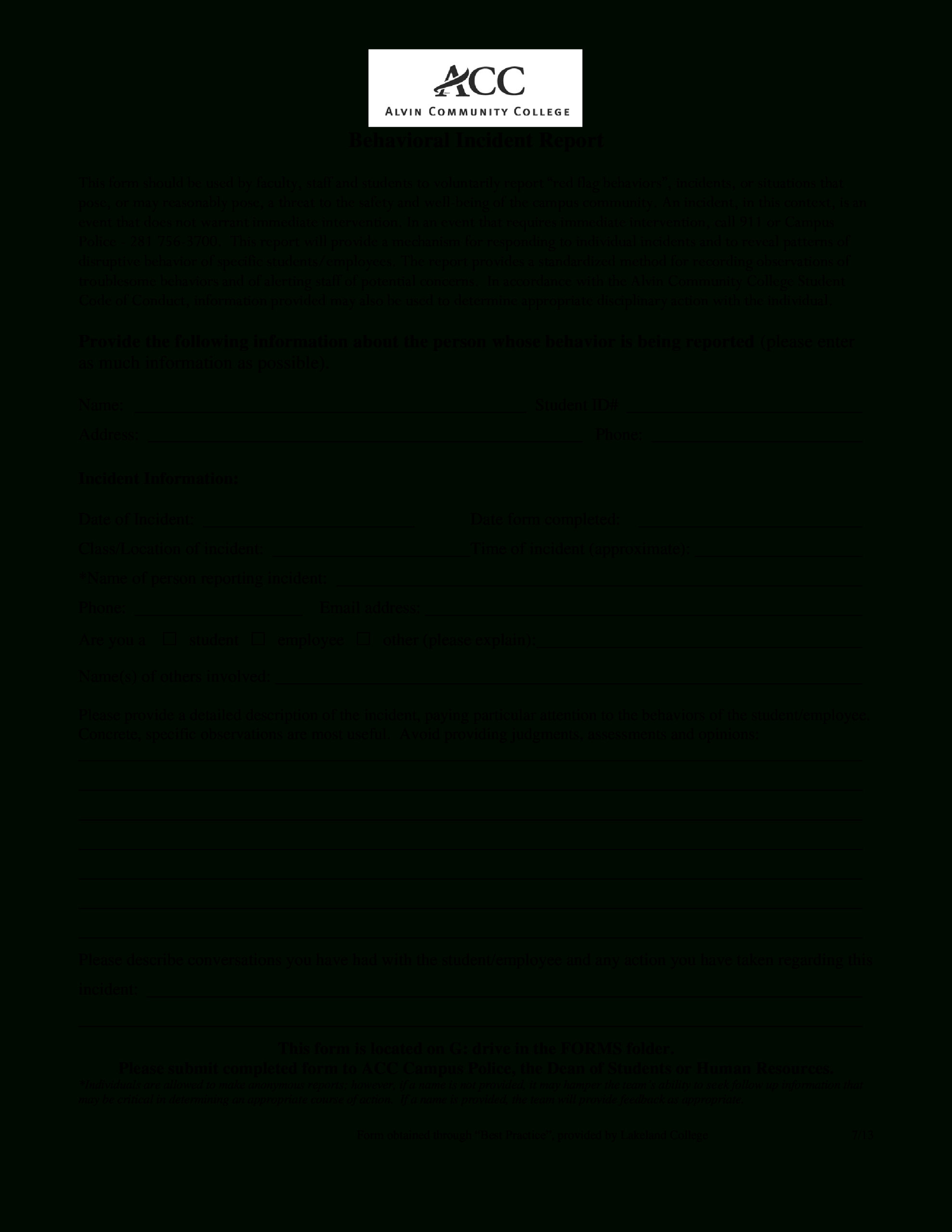 Behavior Incident Report Template – Karan.ald2014 Within Behaviour Report Template