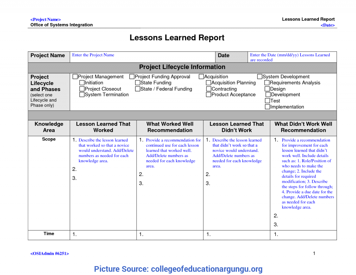 Best Project Lessons Learned Categories 23 Lessons Learnt Throughout Lessons Learnt Report Template