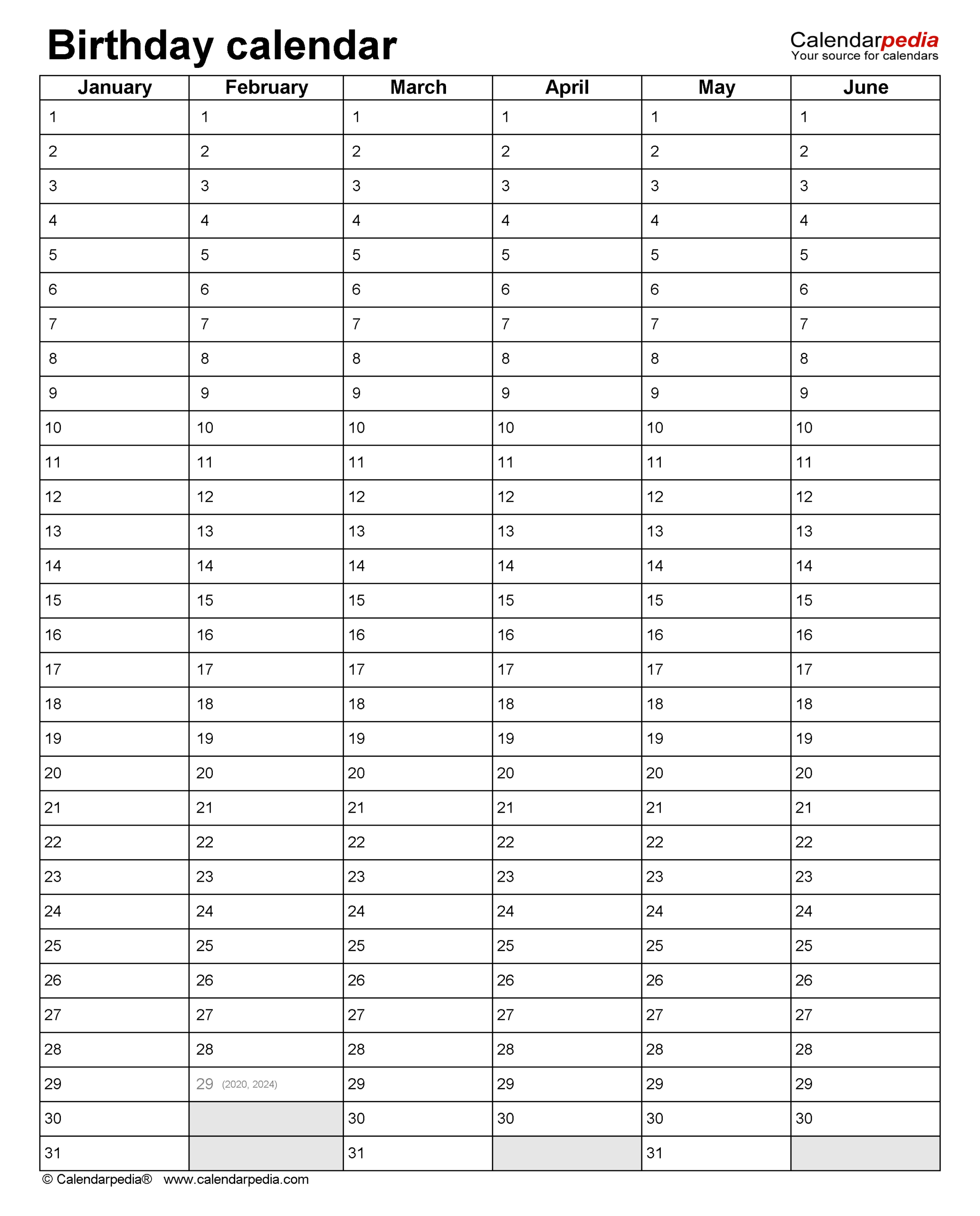 Birthday Calendars - Free Printable Microsoft Word Templates With Regard To Personal Word Wall Template