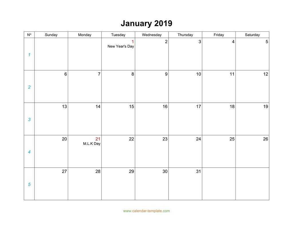 Blank Calendar 2019 Intended For Blank One Month Calendar Template