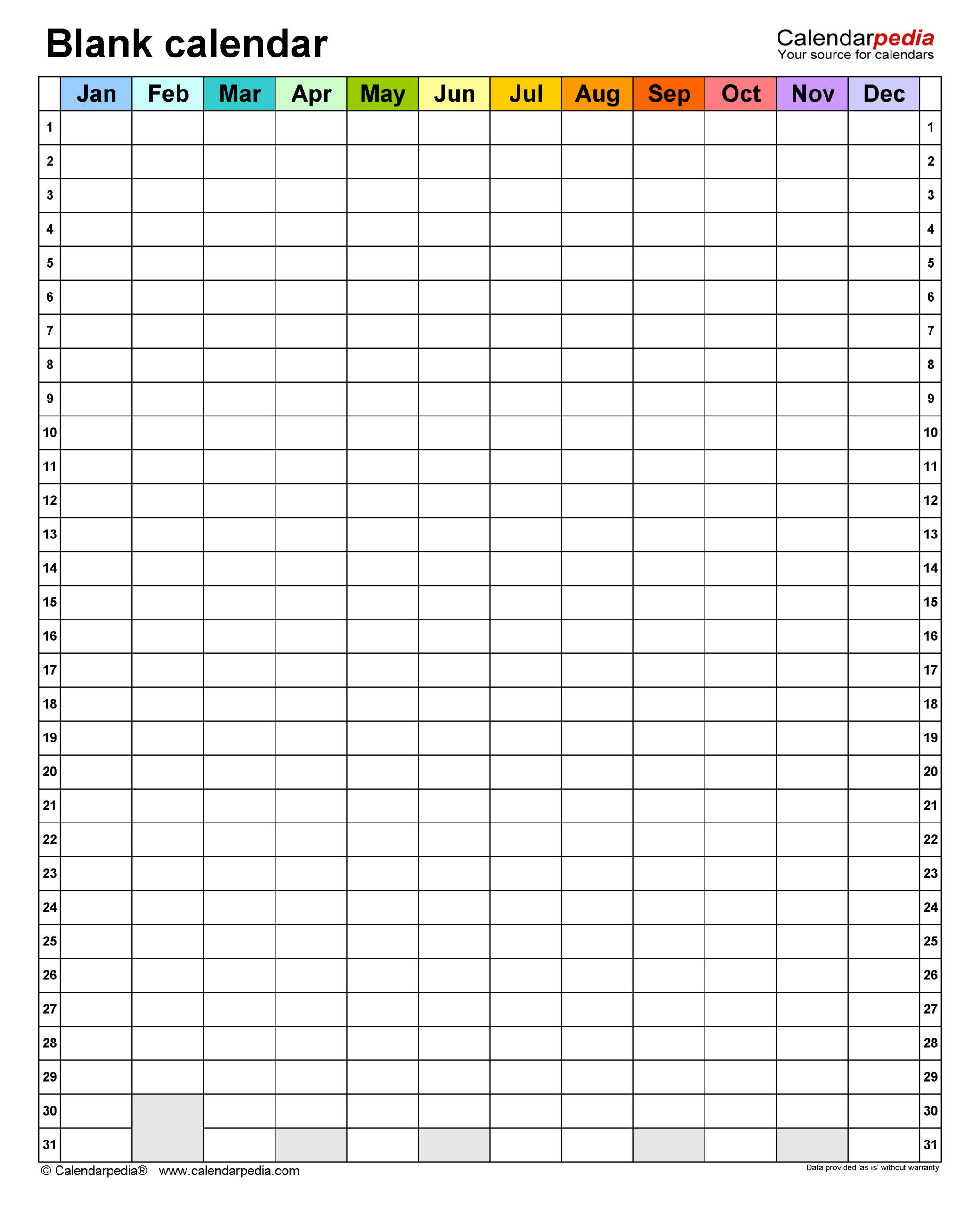 Blank Calendars – Free Printable Microsoft Word Templates Inside Blank Calander Template