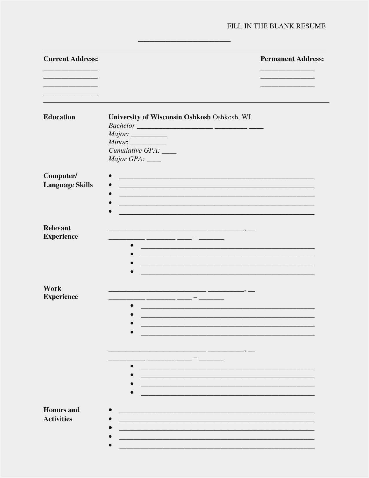 Blank Cv Format Word Download - Resume : Resume Sample #3945 Throughout Free Blank Cv Template Download