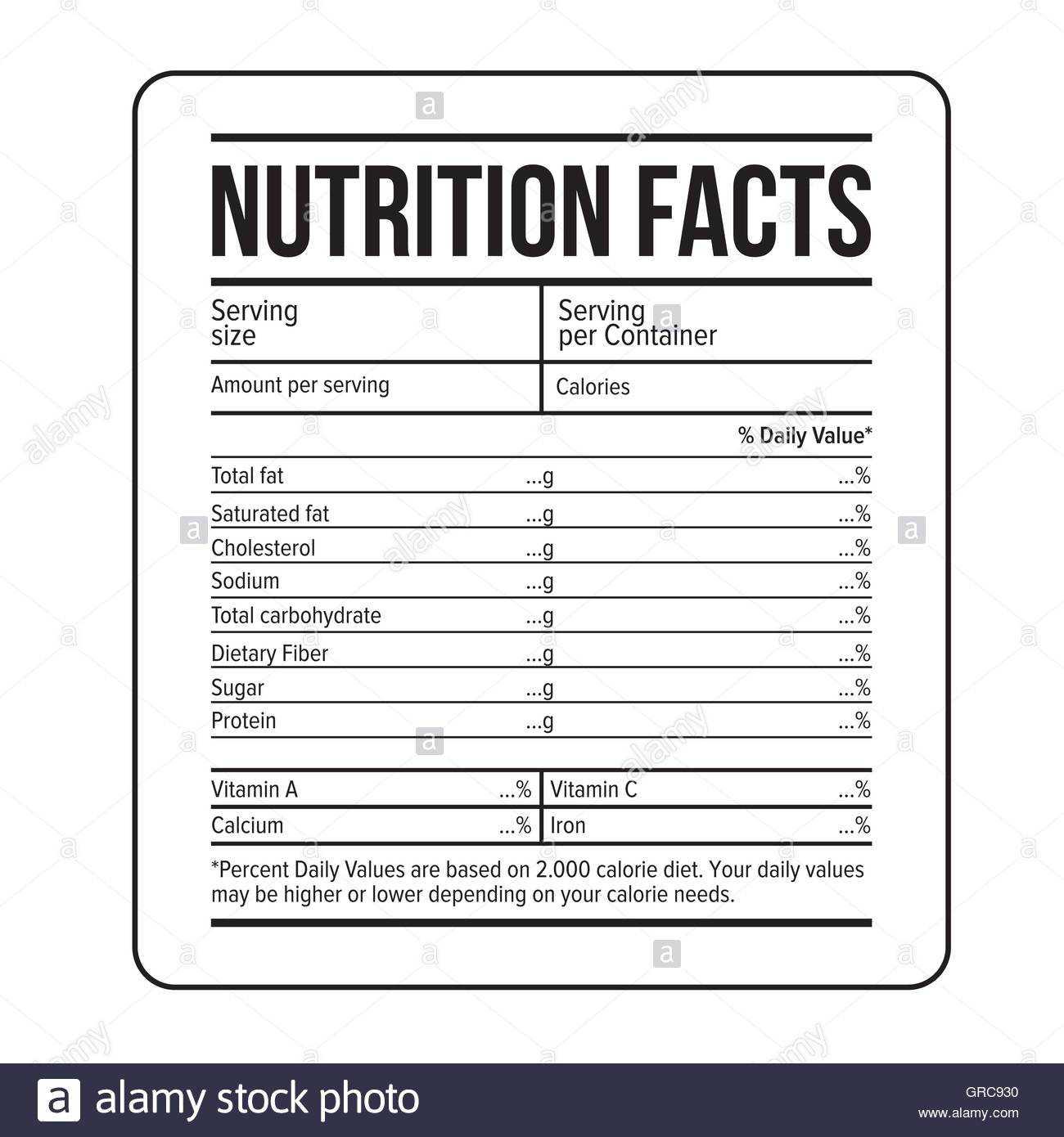 Blank Food Label Template - Best Sample Template Intended For Blank Food Label Template