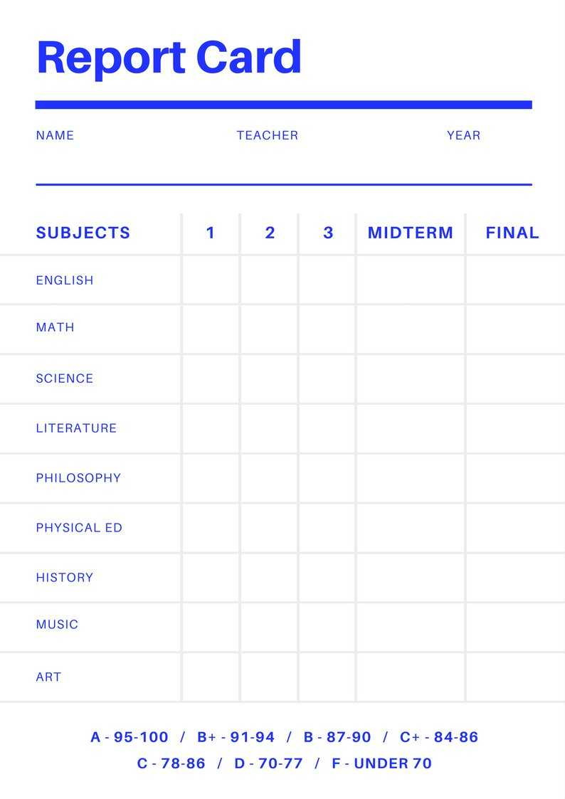 Blank Report Card Template - Best Professional Template In Blank Report Card Template