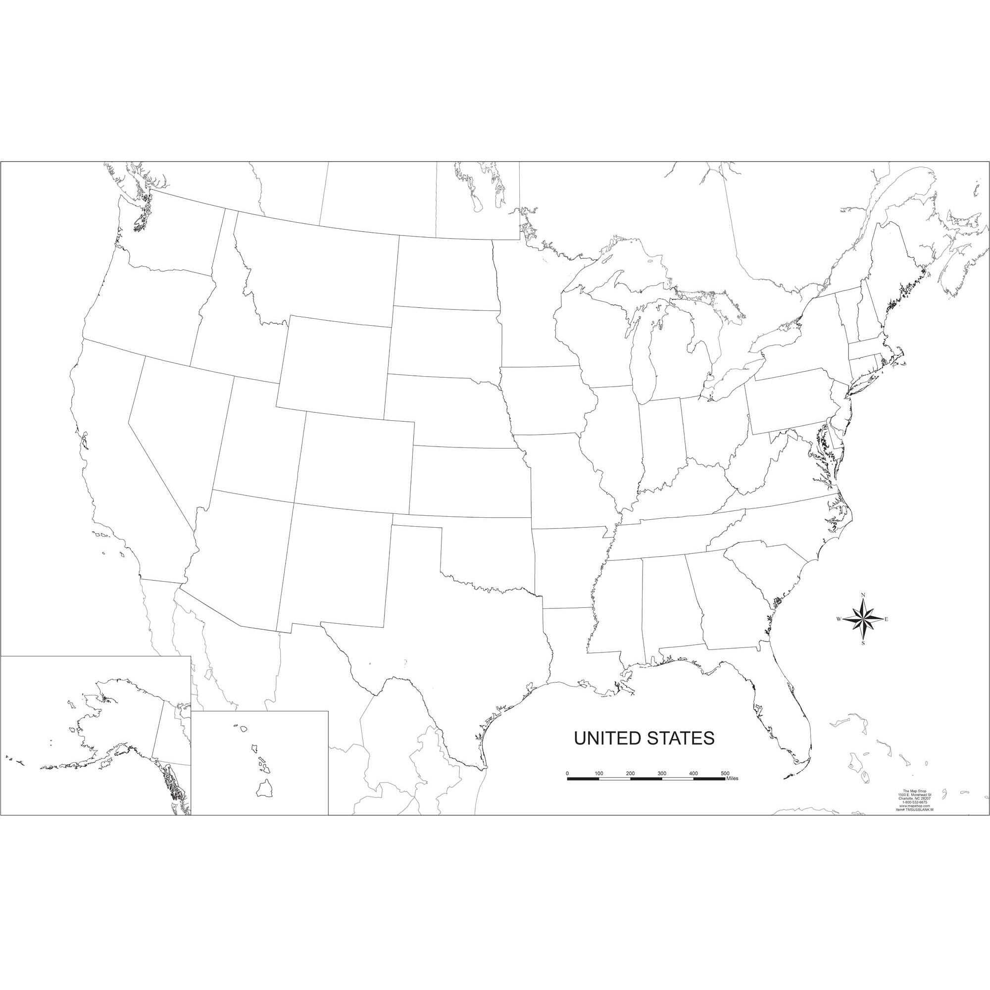 Blank United States Outline Wall Map Throughout United States Map Template Blank