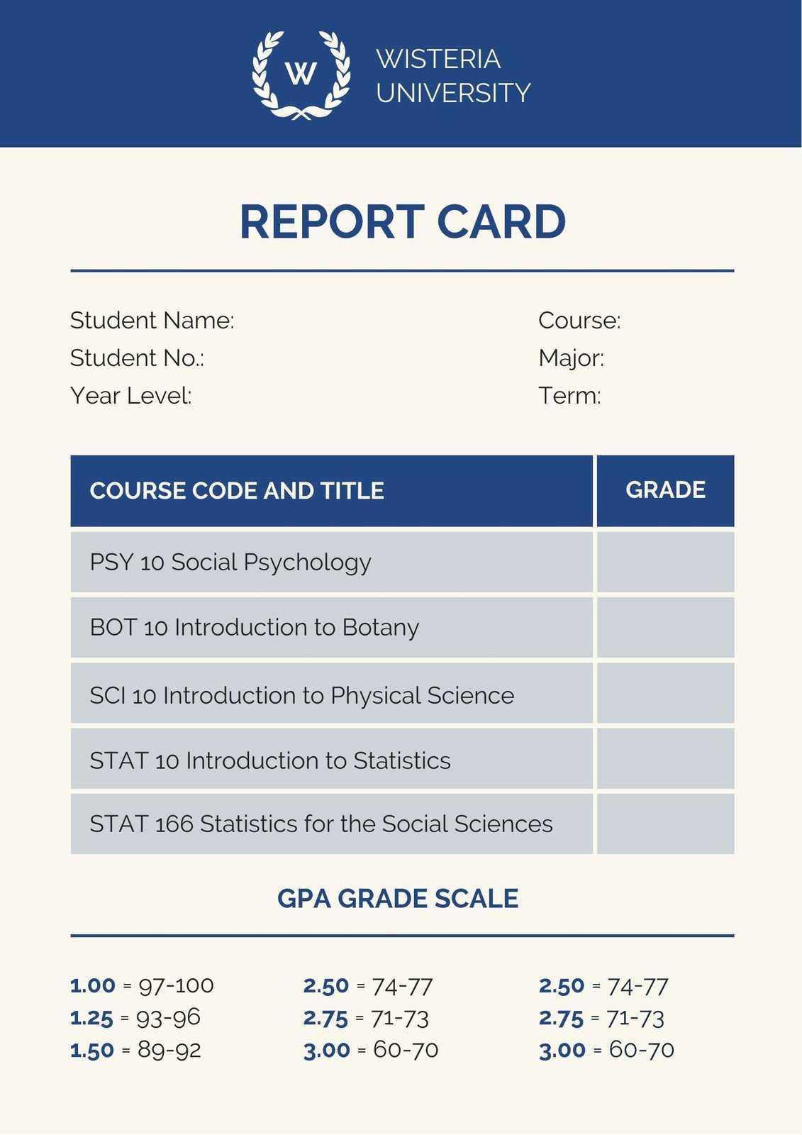 Blue College Report Card - Templatescanva In College Report Card Template
