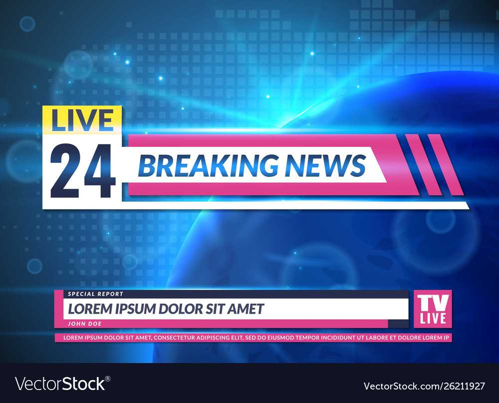 Breaking News Tv Reporting Screen Banner Template Throughout News Report Template