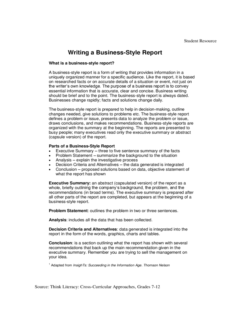 Business Report Template – 7 Free Templates In Pdf, Word With Regard To Section 7 Report Template
