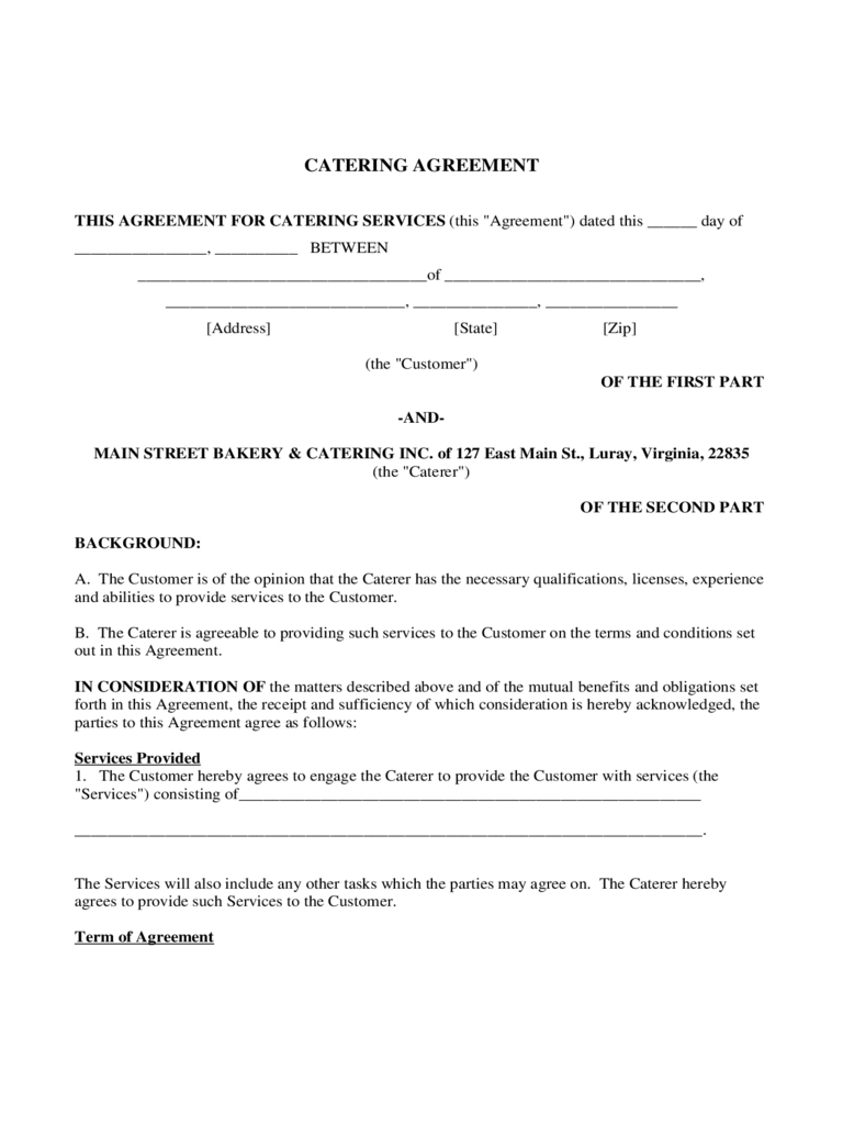 Catering Contract Template Word - Business Template Ideas Throughout Catering Contract Template Word