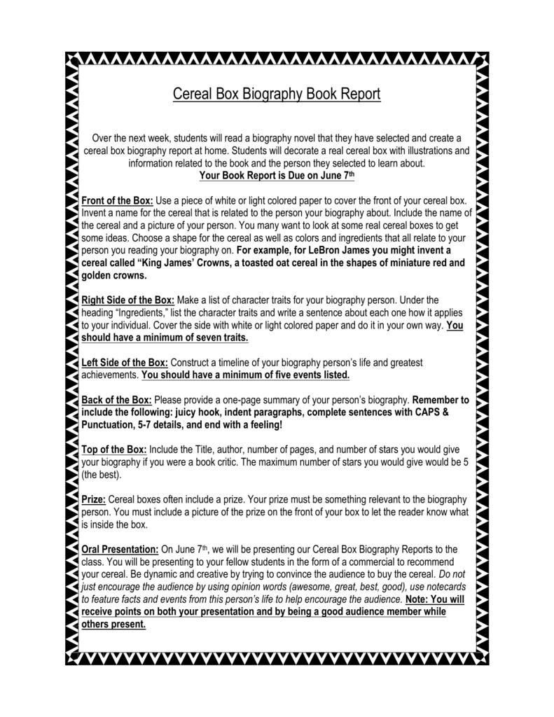 Cereal Box Biography Book Report Regarding Biography Book Report Template