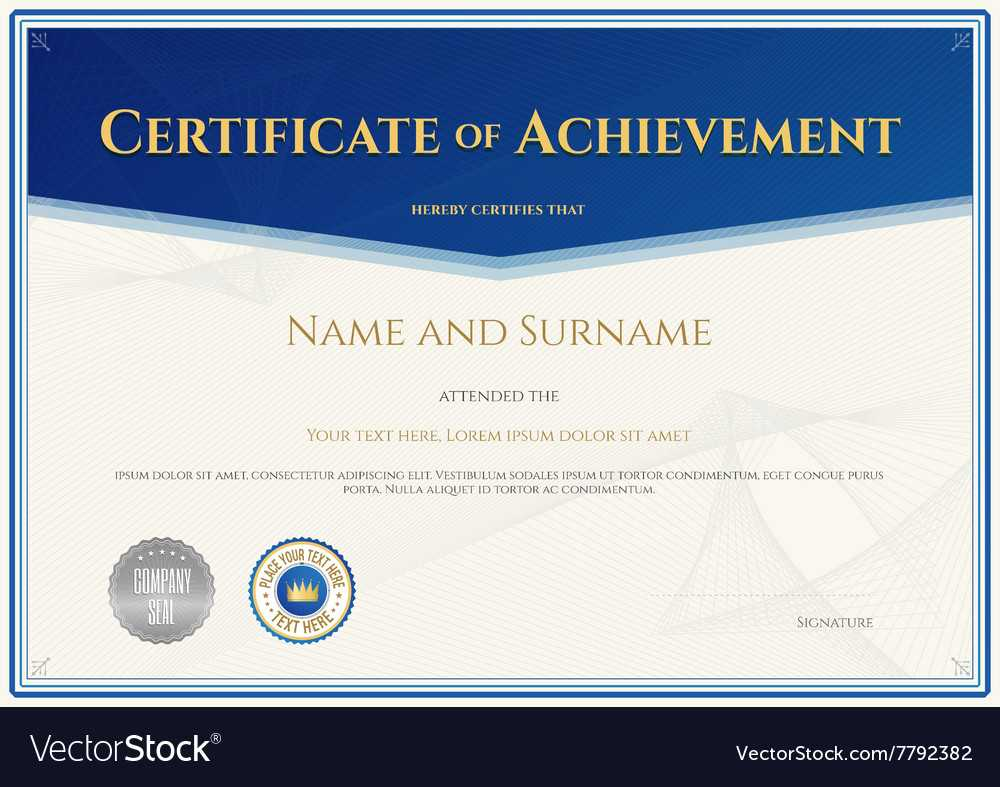 Certificate Achievement Template Blue Theme With Regard To Blank Certificate Of Achievement Template