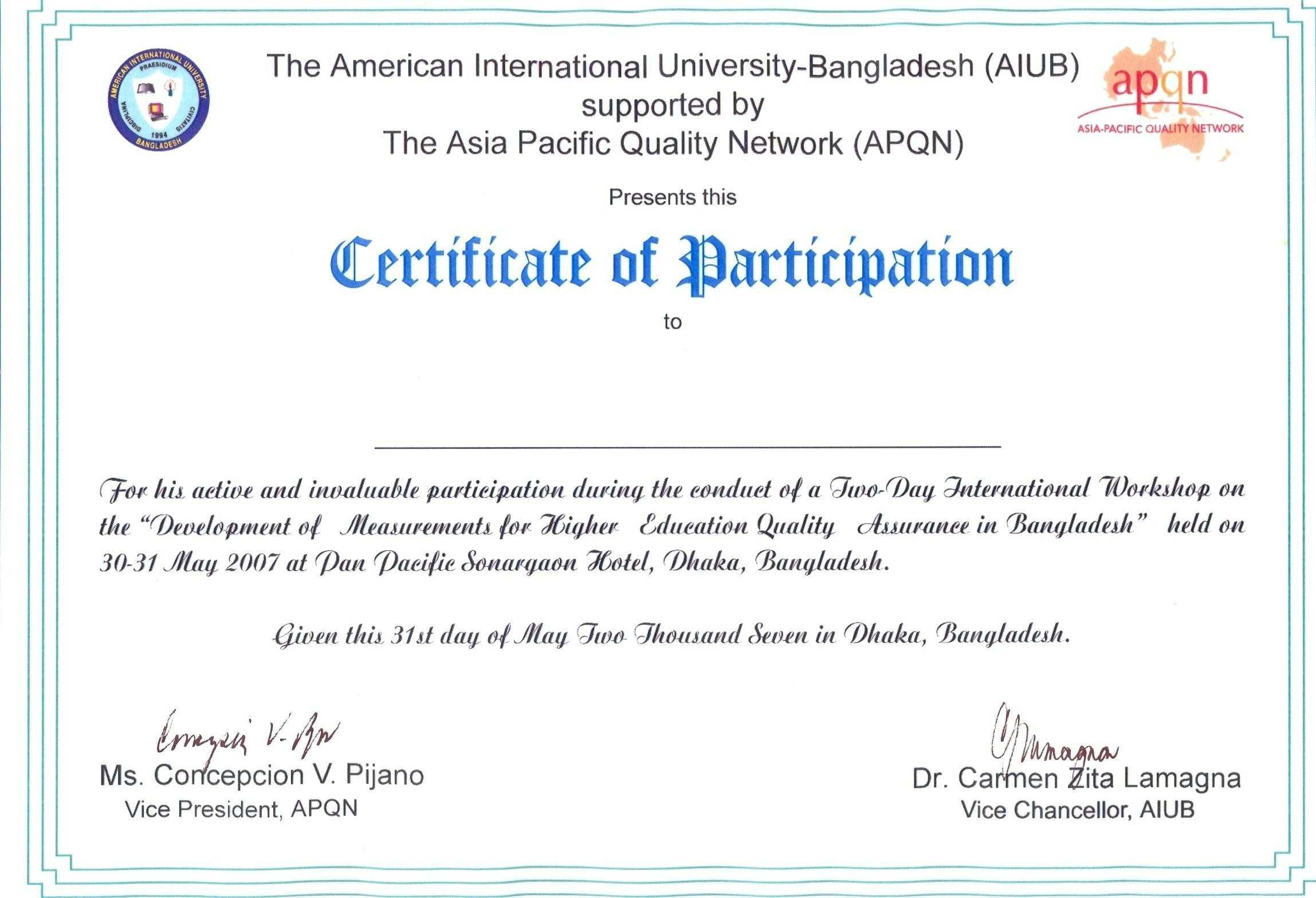 Certificate Of Participation Wording - Karan.ald2014 Within Certificate Of Participation Template Word