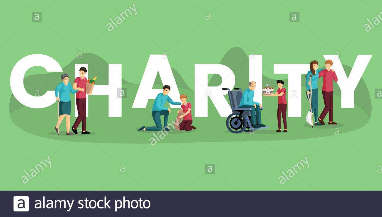 Charity Word Concept Banner Vector Template. Voluntary With Regard To Community Service Template Word