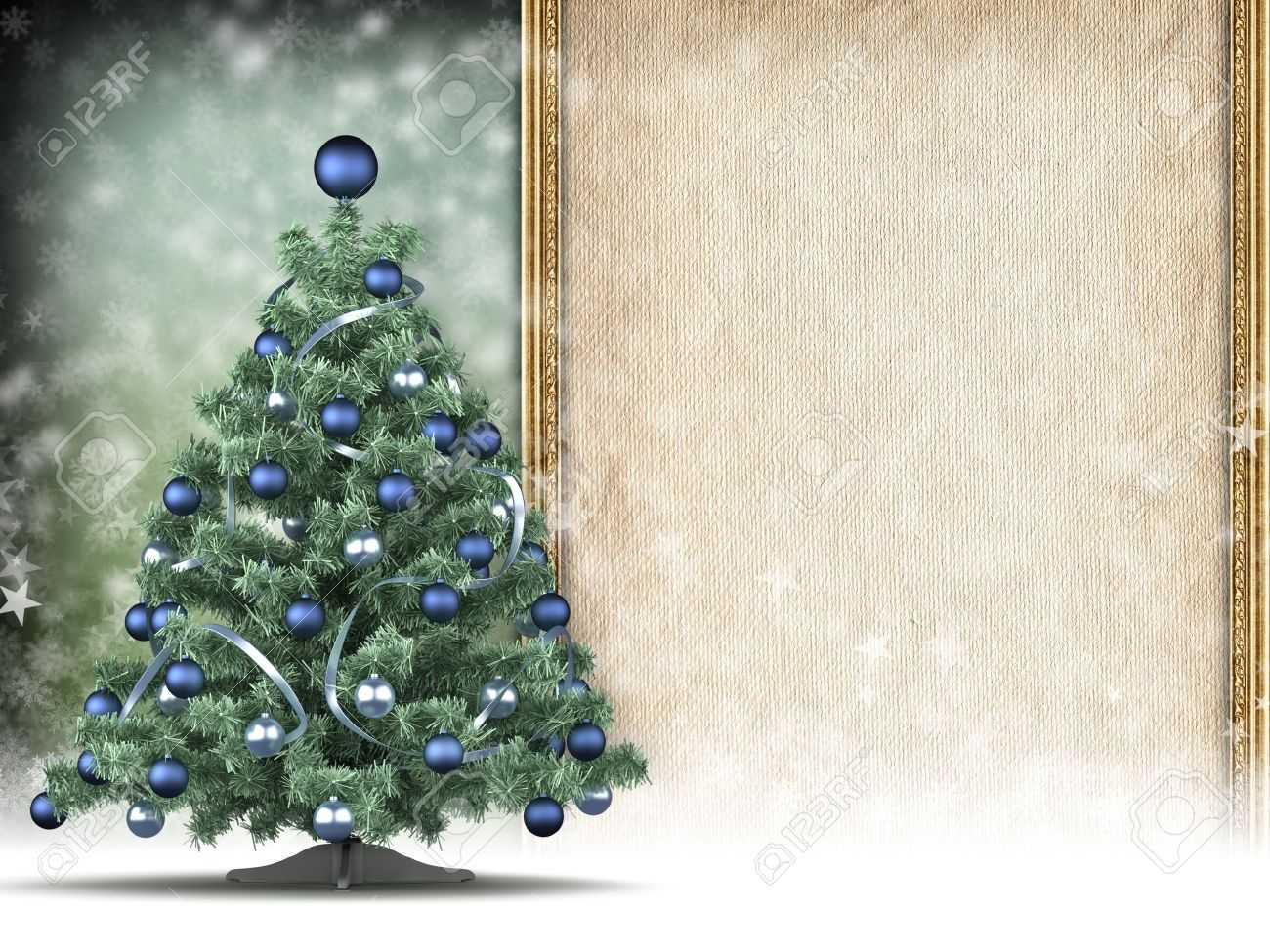 Christmas Card Template - Xmas Tree And Blank Space For Text With Blank Christmas Card Templates Free