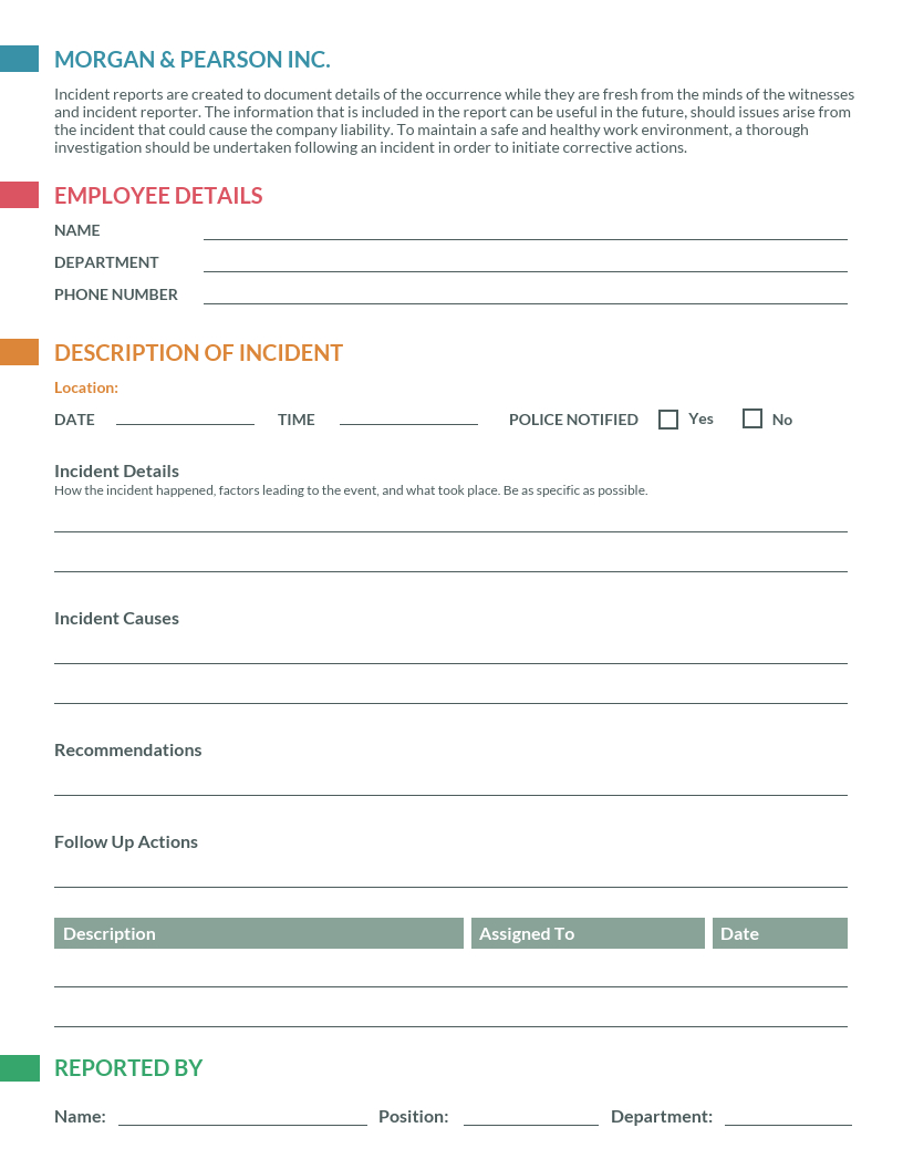 Clean Incident Report Template Within It Incident Report Template