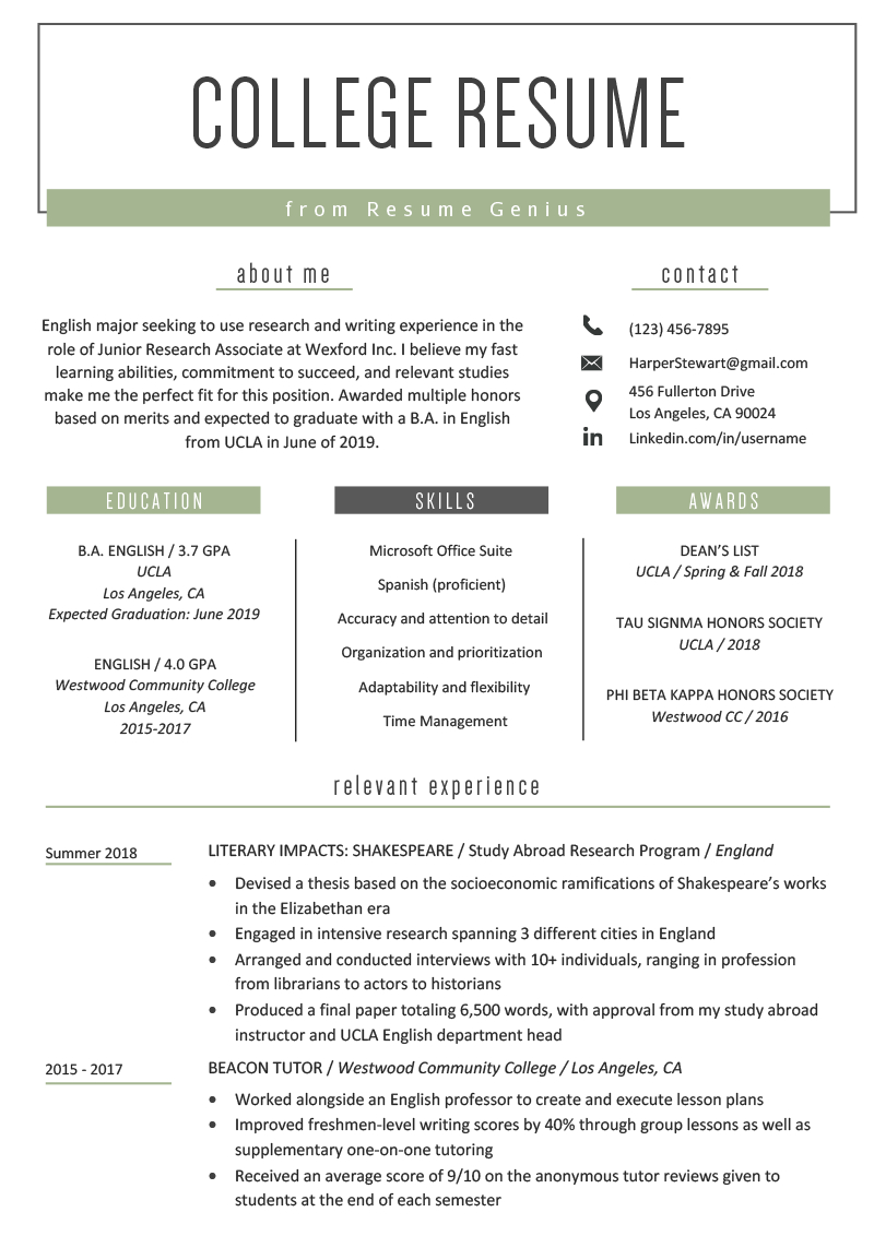 College Student Resume Sample & Writing Tips | Resume Genius In College Student Resume Template Microsoft Word