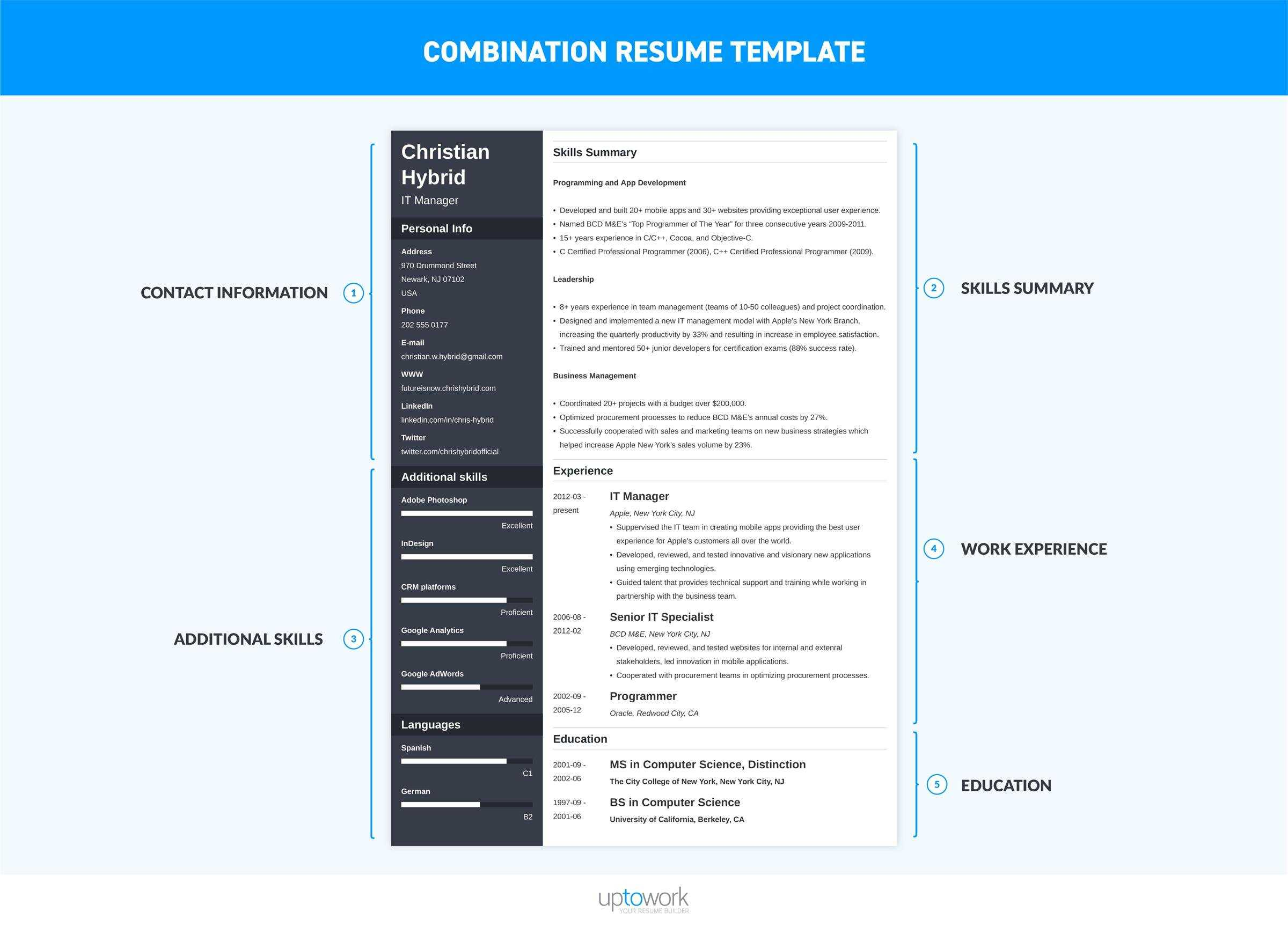 Combination Resume (Template & 5+ Hybrid Examples) Pertaining To Combination Resume Template Word
