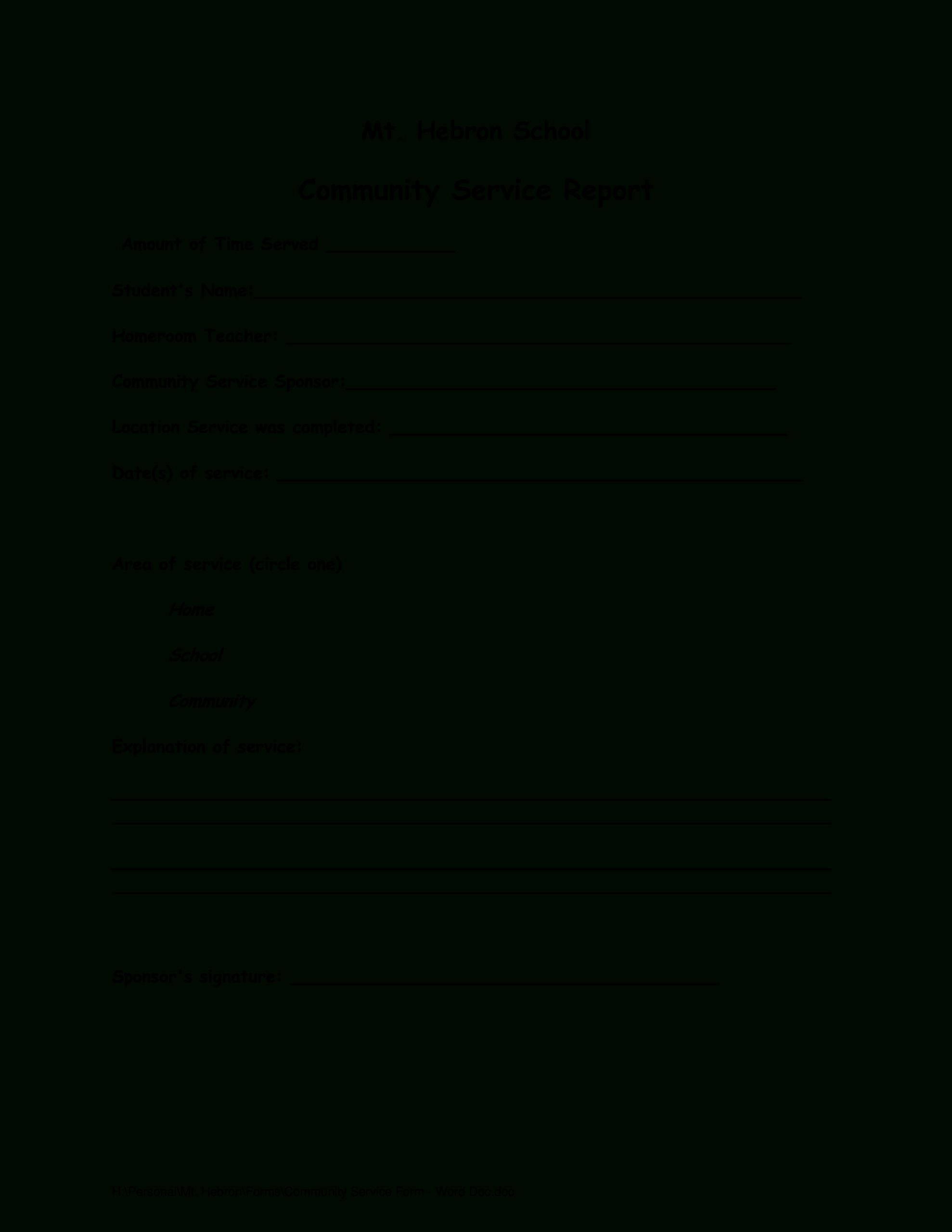 Community Report | Templates At Allbusinesstemplates Regarding Community Service Template Word