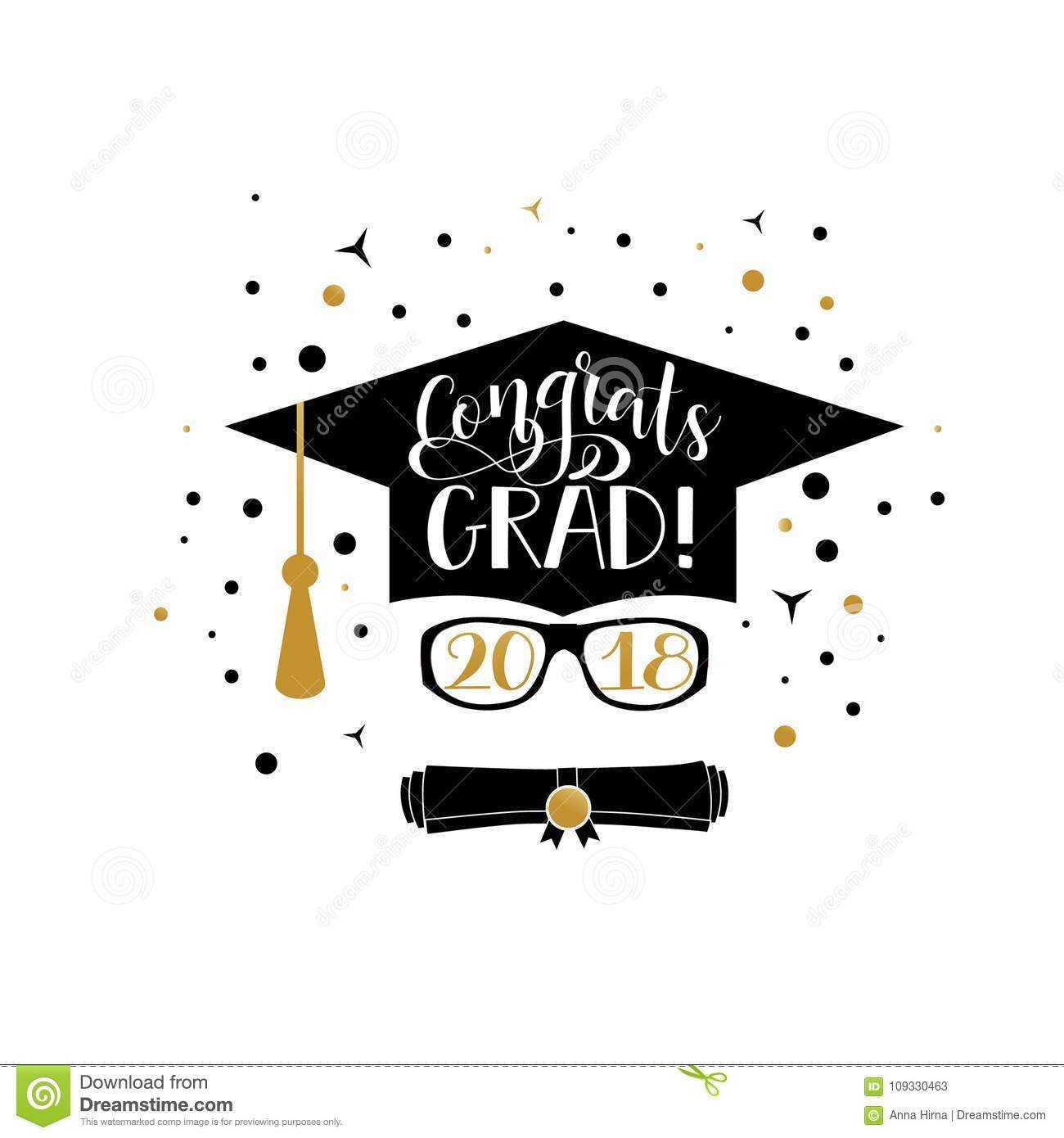 Congrats Grad 2018 Lettering. Congratulations Graduate In Graduation Banner Template