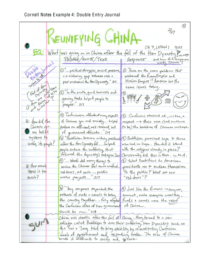 Cornell Notes Example 4: Double Entry Journal In Double Entry Journal Template For Word