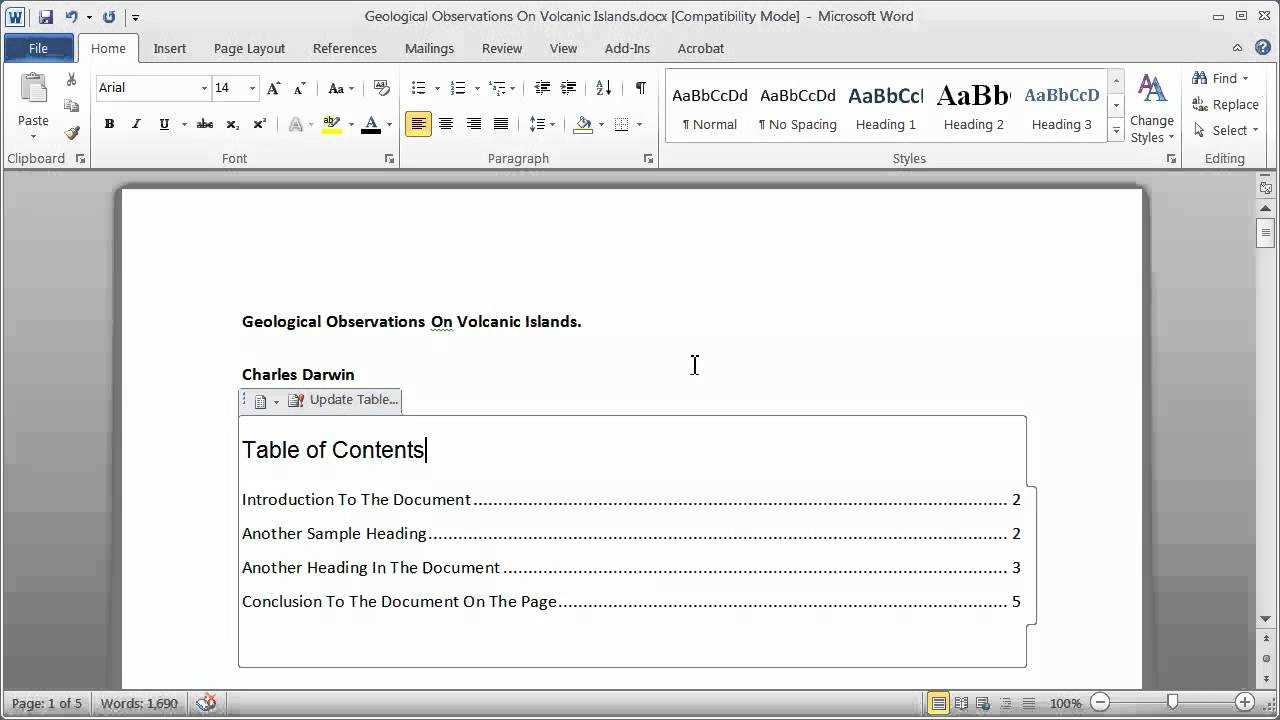 Creating A Table Of Contents In A Word Document - Part 1 Pertaining To Word 2013 Table Of Contents Template