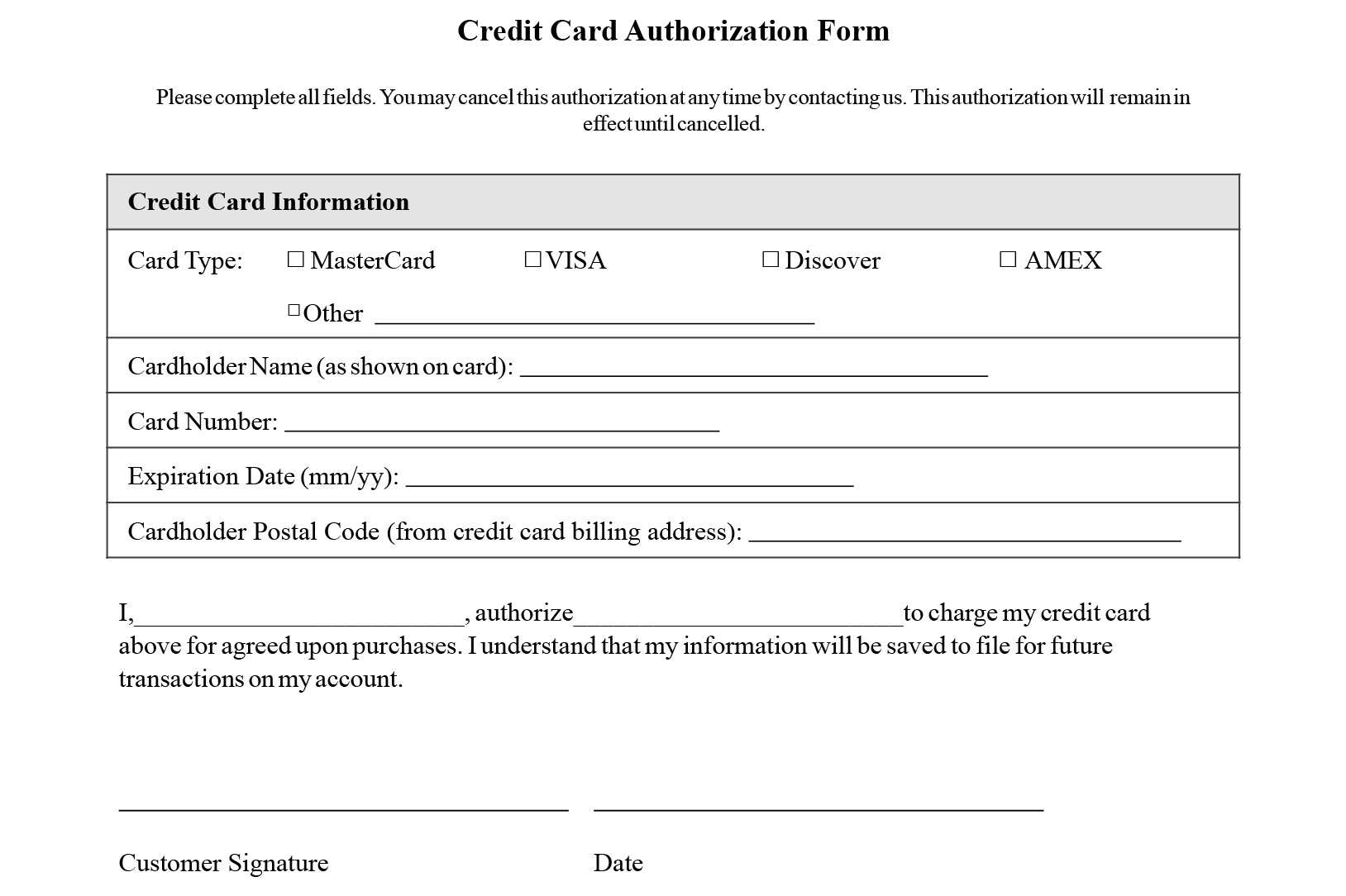 Credit Card Authorization Form Templates [Download] In Credit Card Authorization Form Template Word