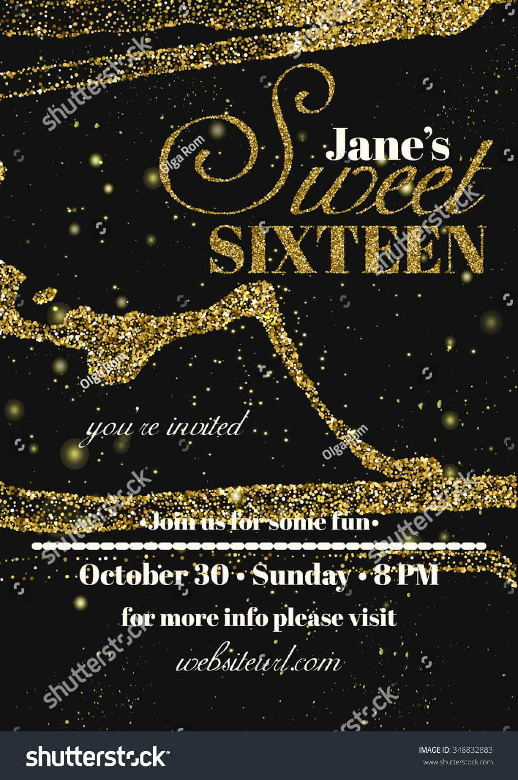 Стоковая Векторная Графика «Sweet Sixteen Glitter Party For Sweet 16 Banner Template