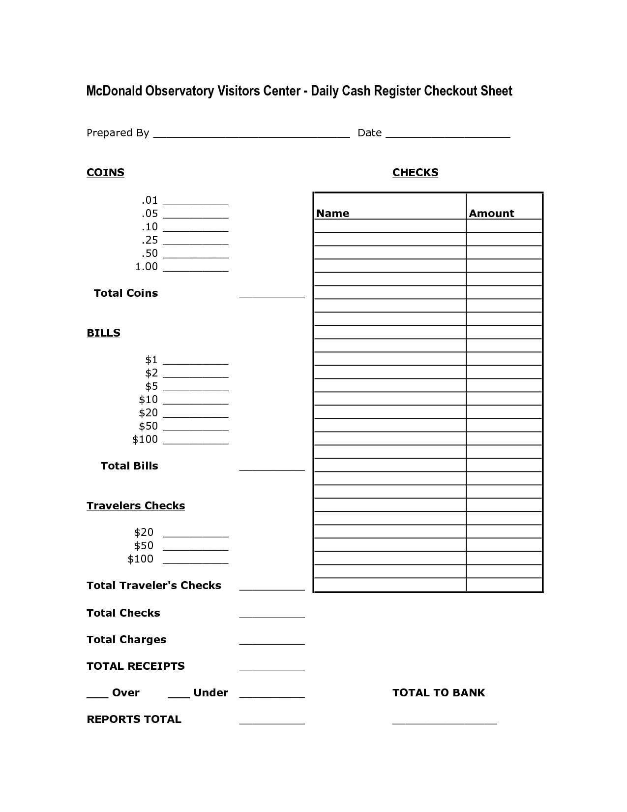 Daily Money Worksheets | Printable Worksheets And Activities For End Of Day Cash Register Report Template