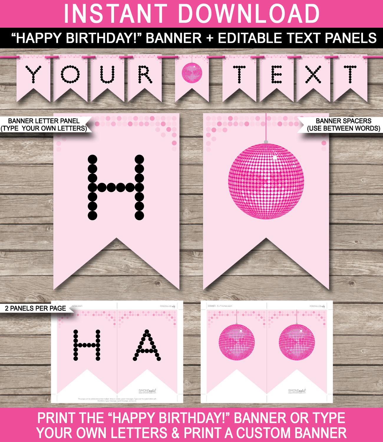 Dance Party Banner Template – Pink In Free Printable Party Banner Templates